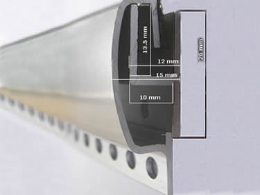 A curtain track is placing on the wall fixation accessory.