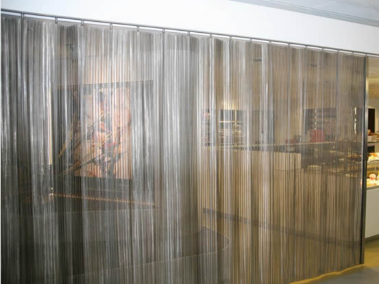 Mesh Curtain Panels : Decorative metal mesh used for space dividers or partitions