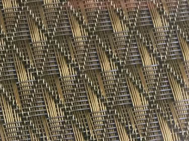 Stainless steel and copper wire is woven into diamond pattern fine mesh.